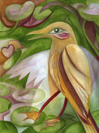 Watercolor painting of mystical yellow bird inspired by Plain Chachalaca jungle in Tikal, Guatemala