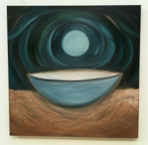 Oil painting of moon with bowl by Susan Cohen Thompson.