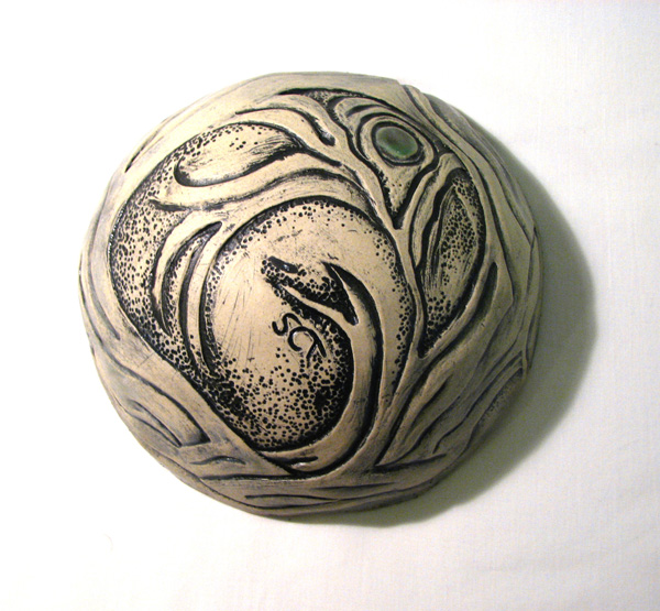 Ceramic Bowl by Susan Cohen Thompson. Shown here upside down so you can see the carving.